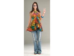60's 70's Hippie Ruffle Halter Top Costume Adult Standard