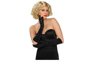 Ruched Black Satin Elbow Length Gloves
