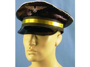 Adjustable Costume Pilot Hat w/Sequin Finish - Black One Size