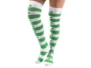 St. Patrick's Day Shamrock Knee High Socks Costume Accessory Adult - One Size