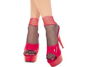 Fishnet Two Tone Anklets Costume Hosiery One Size