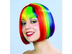 Rainbow Pride Multi Color Costume Bob Wig One Size