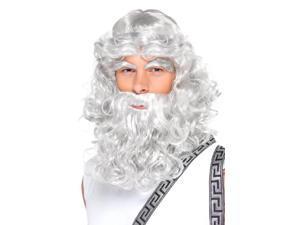 Grey Zeus Adult Costume Wig, Beard & Eyebrows Set