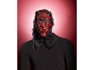 Hooded Red Devil Costume Mask Adult One Size