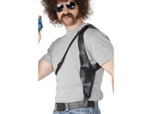 Black Leather Gun Shoulder Adult Costume Holster Prop