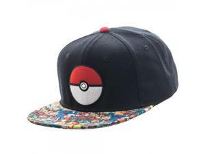 Pokemon Pokeball Sublimated Bill Snapback Hat