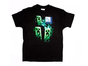 Minecraft Three Creeper Moon Youth T-Shirt Youth Medium