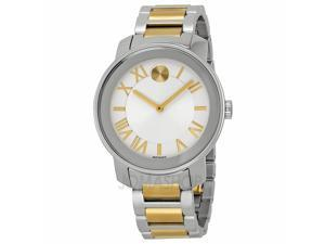 Movado Bold Silvered White Dial Two-tone Stainless Steel Mens Watch 3600208