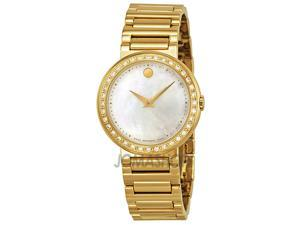 Movado Bold Champagne Dial Gold Tone Steel Diamond Bezel Ladies Watch 3600215