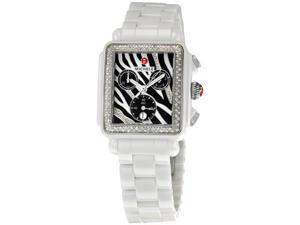 Michele Deco White Ceramic Zebra Dial Ladies Watch MWW06F000010