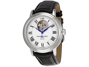 Raymond Weil Maestro White Dial Black Leather Mens Watch 2827-STC-00659