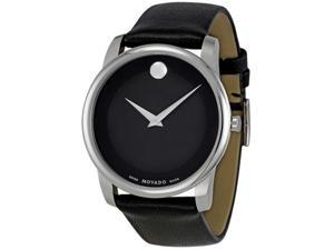 Movado Museum Black Dial Black Leather Strap Mens Watch 0606502