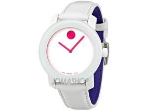 Movado Bold White Dial Leather Strap Unisex Watch 3600020