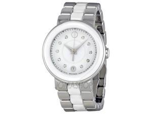 Movado Cerena Steel and White Ceramic Ladies Watch 0606540