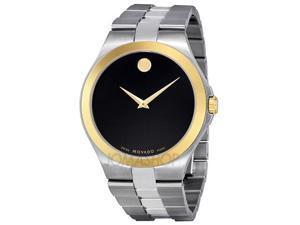 Movado 0606557 Stainless Steel Quartz Black Dial Gold Hands Gold Bezel