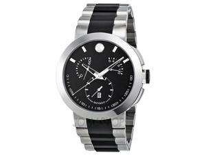 Movado Verto Black Dial Chronograph Two Tone Stainless Steel Mens Watch 0606546