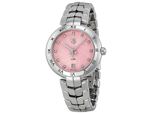 Tag Heuer Link Diamond Pink Guilloche Dial Steel Ladies Watch WAT1313.BA0956