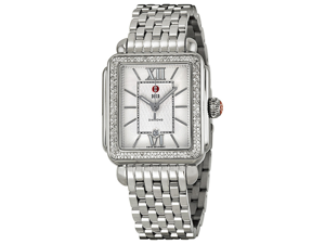 Michele Signature Deco Diamond Silver Guilloche Dial Steel Watch MWW06T000055