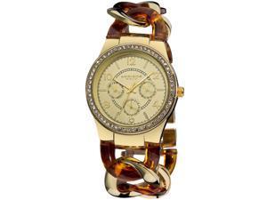 Akribos GMT Multi-Function Tortoise Resin and Gold-Tone Ladies Watch AK562YG
