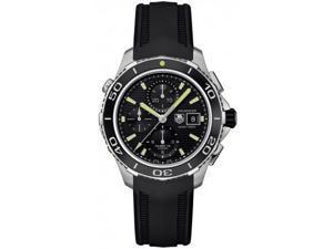 Tag Heuer Aquaracer Black Dial Chrono Steel Black Rubber Watch CAK2111FT8019