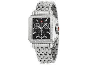 Michele Signature Deco Black Dial Diamond Bezel Steel Ladies Watch MWW06P000171