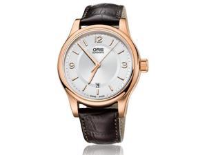 Oris Classic Date Silver Dial Brown Leather Watch 01 733 7594 4831-07 6 20 12