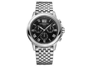 Raymond Weil Tradition Chronograph Black Dial Steel Mens Watch 4476-ST-00200