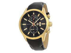 Brooklyn Watch Company Fulton Black Dial Black Leather Swiss Quartz Mens Watch