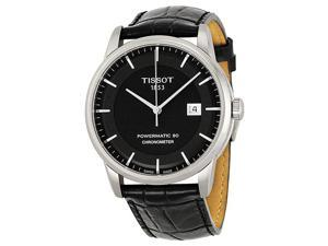 Tissot Luxury Automatic Black Dial Steel Black Leather Mens Watch T0864081605100