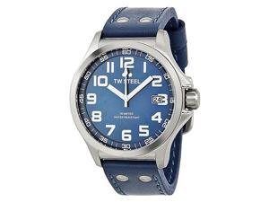 TW Steel Pilot Sunray Blue Dial Stainless Steel Blue Leather Mens Watch TW400
