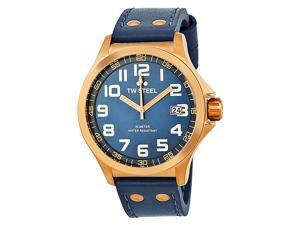 TW Steel Pilot Sunray Blue Dial Rose Gold PVD Steel Blue Leather Watch TW404