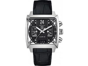 Tag Heuer Monaco Chronograph Black Dial Black Leather Mens Watch CAL5113FC6329
