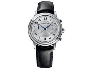 Raymond Weil Freelancer Chrono Silver Dial Black Leather Watch 4830-STC-05659