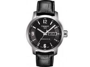 Tissot PRC200 Powermatic 80 Black Dial Black Leather Mens Watch T0554301605700