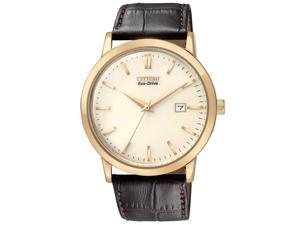 Citizen Eco-Drive Champagne Dial Brown Leather Strap Mens Watch BM7193.07B