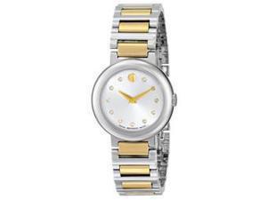 Movado Concerto Silver Dial Two-tone Ladies Watch 0606790