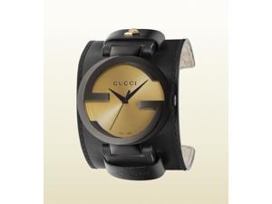 Gucci Grammy XL Black Leather Cuff Mens Watch YA133202