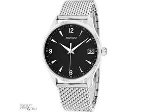 Movado Circa Black Dial Stainless Steel Mesh Watch 0606802