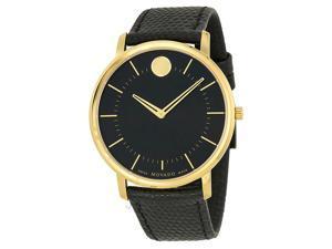 Movado Black Dial Black Leather Mens Watch 0606847