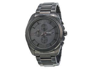 Seiko Solar Grey Dial Gunmetal Chronograph Mens Watch SSC235