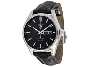 Tag Heuer Carrera Automatic Black Dial Black Leather Mens Watch WAR201AFC6266