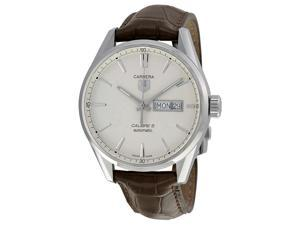 Tag Heuer Carrera Silver Dial Brown Leather Mens Watch WAR201BFC6291