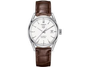 Tag Heuer Carrera Automatic Silver Dial Brown Leather Mens Watch WAR211BFC6181