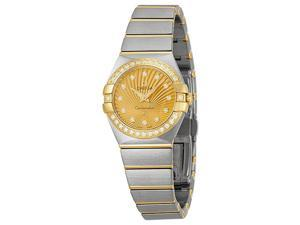 Omega Constellation Diamond Champagne Dial Brushed Steel Ladies Watch