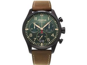 Alpina Startimer Pilot Chronograph Green Dial Brown Leather Watch AL-372GR4FBS6