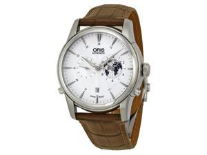 Oris Artelier GMT Silver White Dial Brown Leather Mens Watch 690-7690-4081LS