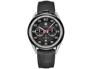 Tag Heuer Carrera Chronograph Black Dial Black Leather Mens Watch CAR2C12FC6327