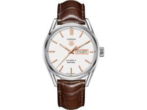 Tag Heuer Carrera White Dial Brown Alligator Leather Mens Watch WAR201DFC6291