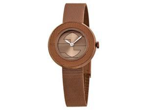 Gucci U-Play Brown Dial PVD Stainless Steel Ladies Watch YA129520