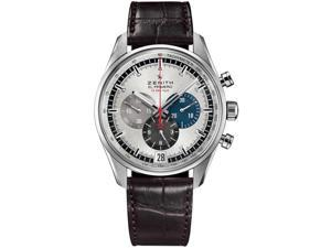 Zenith El Primero Chronograph Silver Dial Brown Leather Watch 03204040069C494